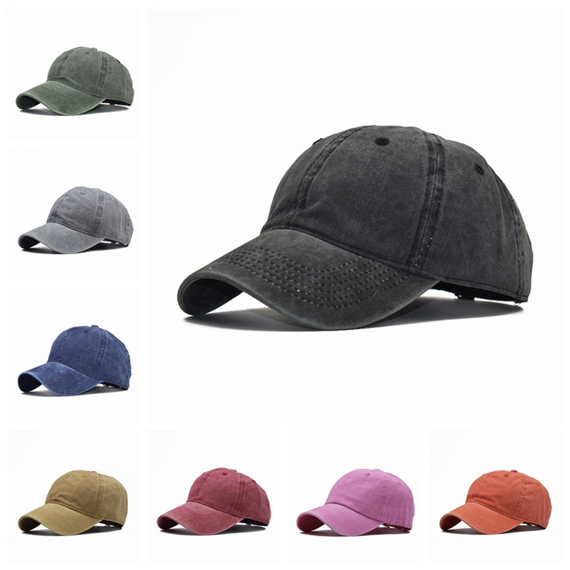 Washed Cotton Pure Color Light Board Men's Baseball Cap Multi-Color Optional Bone Cap, Stitching Dad Hat