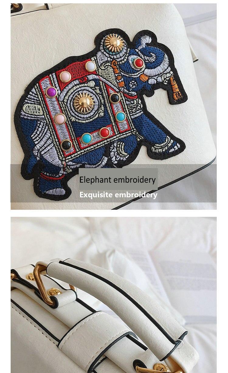 Branco bolsa feminina elefante bordado mulher bolsa