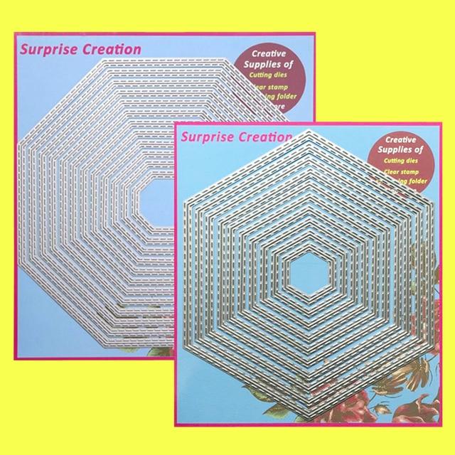 2 Set Large Cutting dies Stitched Octagon & Hexagon Cardmaking Scrapbook Paper Craft DIY Metal Stencil Surprise Creation dies