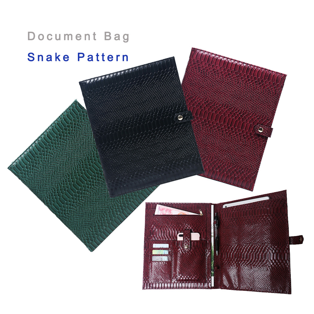 Hot Sale Document Bag Fashion Snake Pattern File Bag Women Business A4 File Holder Luxury For Ipad Ostrich Holder