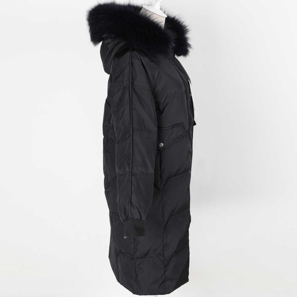 2019 женская одежда натуральный мех енота большой воротник белый пуховик пальто длинное пальто