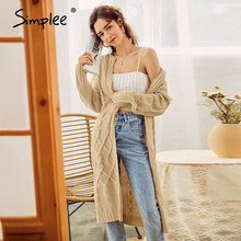 Knitted Sweaters Long-Cardigan Simplee Women Long-Sleeve Winter Casual Autumn Crew-Neck
