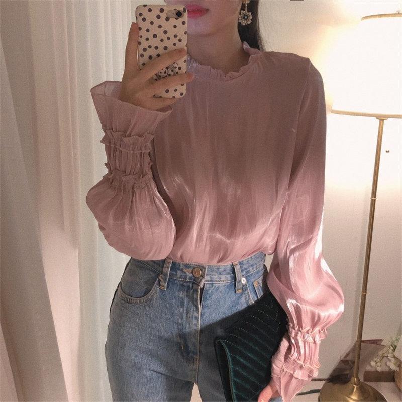 HziriP Fashion Luster Ruffles Solid 2020 Korean Flare-Sleeved Brief Tops Elegant Pullovers Women Casual Loose Retro Shirts