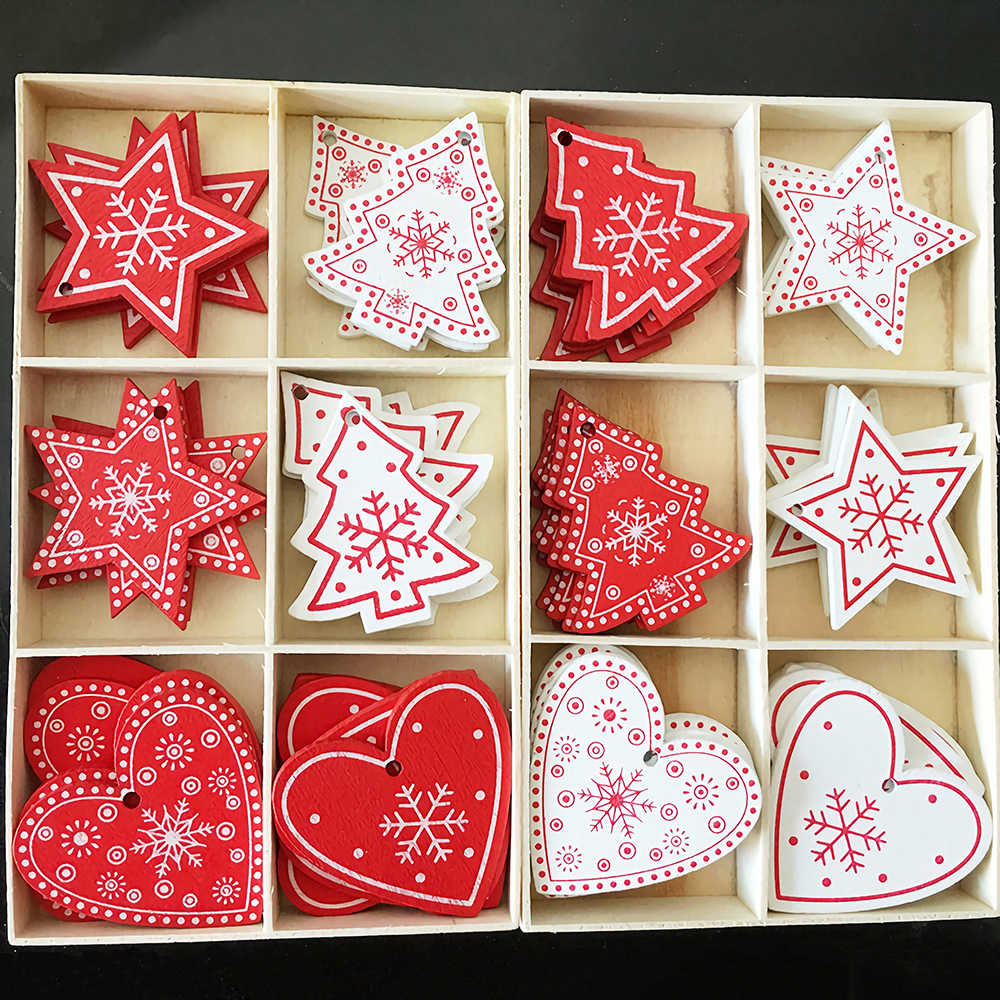 10PCs 5cm Wooden Christmas Ornaments Kids Toys  For Chirstmas Tree Hanging Pendants Xmas Decoration For Home Party New Year Noel