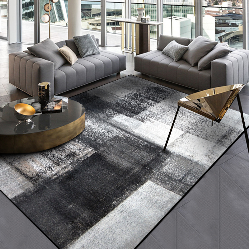 Stylish simple modern abstract Chinese ink black gray bedroom kitchen door mat living room floor mat carpet can be customized