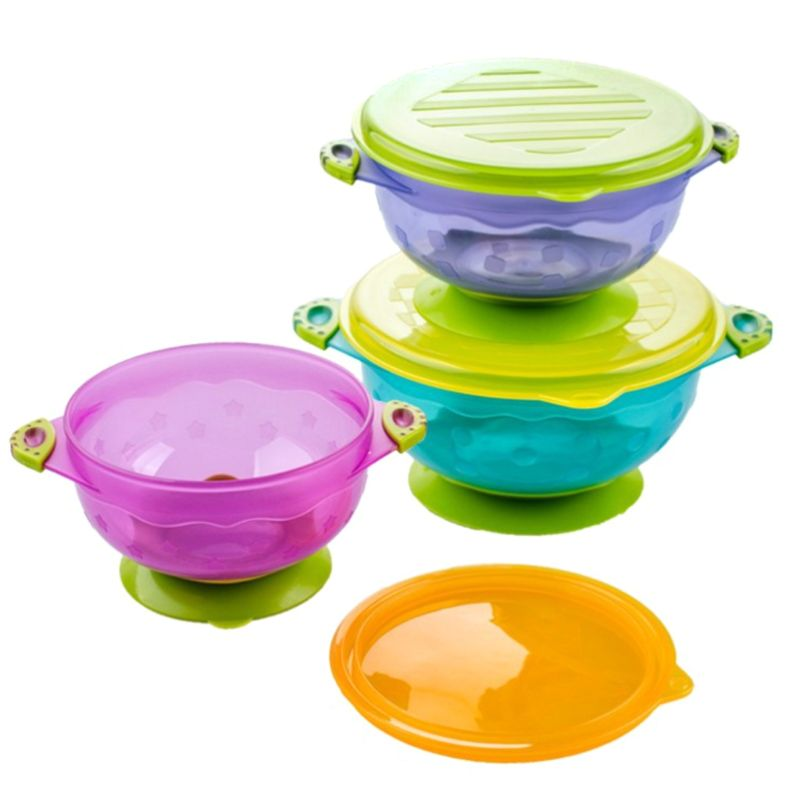3Pcs Anti Slip Suction Babies Food Plate Lid Bowl Set Toddlers Kids Feeding Tray Non-odor Easy Clean Good Seal Portable  Tool