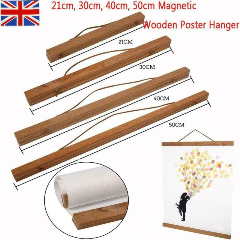 21/<font><b>30</b></font>/<font><b>40</b></font>/50/60cm Magnetic Wooden <font><b>Photo</b></font> <font><b>Frame</b></font> Wall Poster Scroll Artwork Hanger image