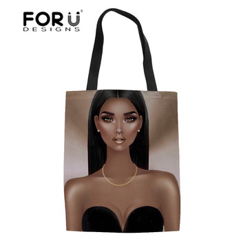FORUDESIGNS Foldable Shopping Bags for Women Black Art African Canvas Tote Ladies Eco Fabric Bag Girls Large Bookbags Bolsa - discount item  37% OFF Special Purpose Bags