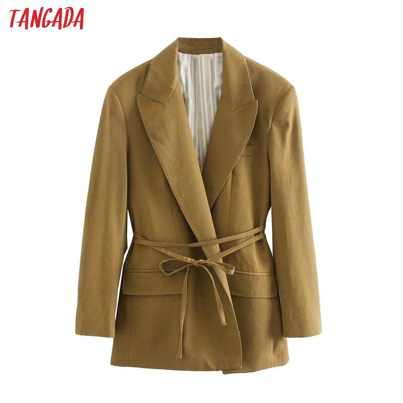 Tangada Women Vintage Solid Blazer With Slash Long Sleeve Elegant Jacket Ladies Work Wear Blazer Formal Suits 5Z180