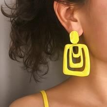 Geometric Dangle Earrings Women Boho Pink Neon Earring Statement Trendy Jewelry Aretes Yellow Colorful Minimalist Metal MC020