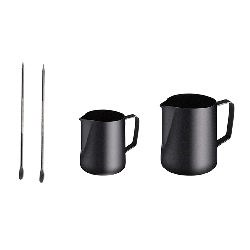 2 Pack Milk Frothing Pitcher,Steaming Pitcher with Decorating Pen,Coffee Cappuccino Latte Art Milk Frother(12OZ&20OZ)