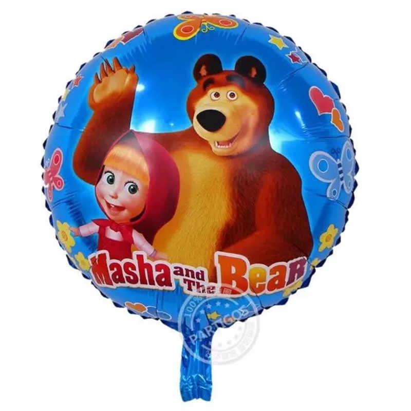 47*77CM מאשה ודוב מסיבת יום הולדת רדיד בלוני 3D תינוק מקלחת מסיבת יום הולדת לילדים מסיבת בלון דגל קש ספקי צד