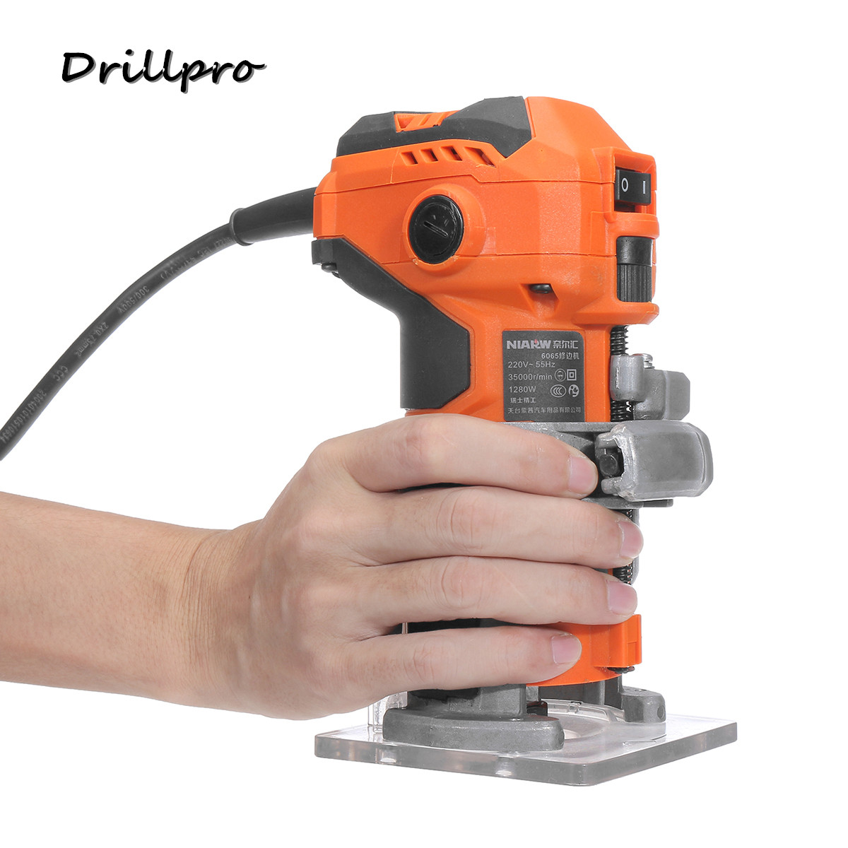 220V Wood Electric Trimmer Woodworking Wood Milling 1280W 35000r/min Electric Power Trimmer Wood Laminator Router Edge Joiners