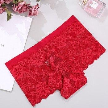 Lencería Sexy de encaje de malla ropa interior de encaje Floral cintura Sexy ver a través de bragas interiores sin costura bragas blancas rojas para mujer