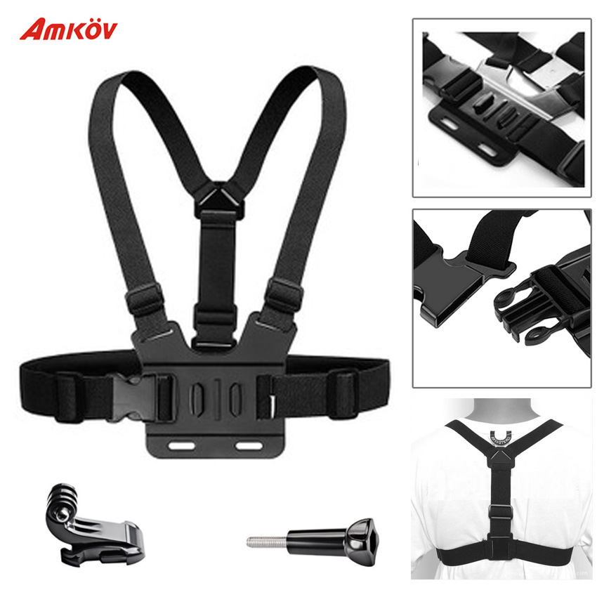 AMKOV Sport Camera Chest Strap Mount for Gopro Hero 5 4 Xiaomi Yi 4K Action Camera Chest Mount Harness for Go Pro SJCAM SJ4000 image