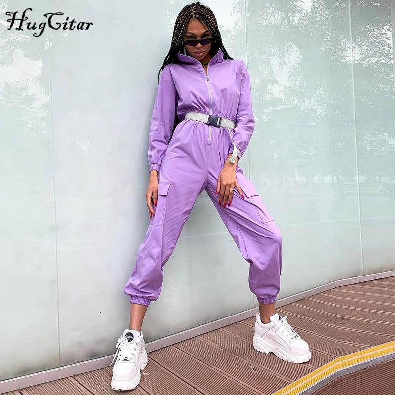 Hugcitar 2019 Buckle Belt Long Sleeve Jumpsuit Autumn Winter Women Streetwear Cargo Pants Overalls  Body Festival Streetwear