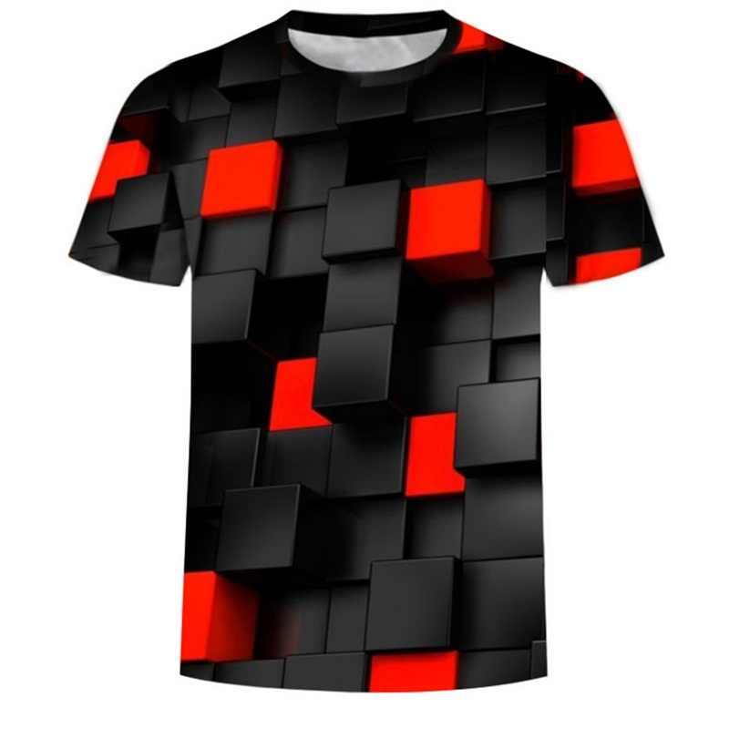Moda preto/vermelho quadrados de manga curta 3d impresso engraçado men tshirt casual verão camiseta para homem o-pescoço topos t marca plus size