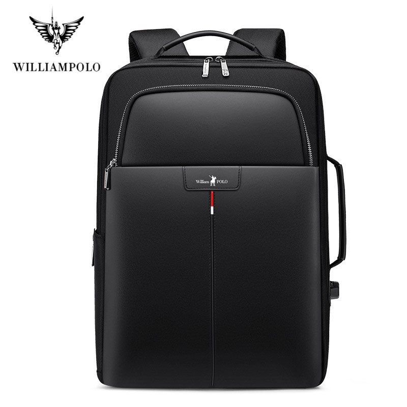 Anti-theft Expansion Leather Backpack USB External Charging 15.6-inch Laptop Backpack Men's Waterproof Student Backpackschoolbag