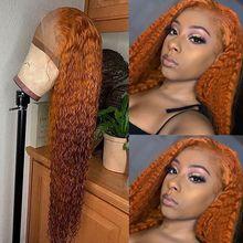 Parrucca anteriore in pizzo arancione a densità 180 parrucche colorate per capelli umani ricci per donne nere parrucca miele biondo brasiliano Remy nodi sbiancati