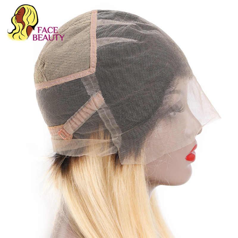 Facebeauty perucas completas sem cola brasileiras 1b 613 ombre cor loira remy reta preplucked 26 Polegada perucas de cabelo com cabelo do bebê