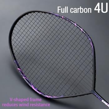 Профессиональная V-образная ракетка для бадминтона, ракетка из углеродного волокна для нападения, с ремешком, максимальный вес 30 фунтов, 4U