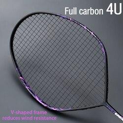 المهنية ماكس 30 جنيه 4U الخامس شكل مضرب بدمنتون متوتر كامل ألياف الكربون مضرب الهجومية نوع واحد مضرب مع سلسلة