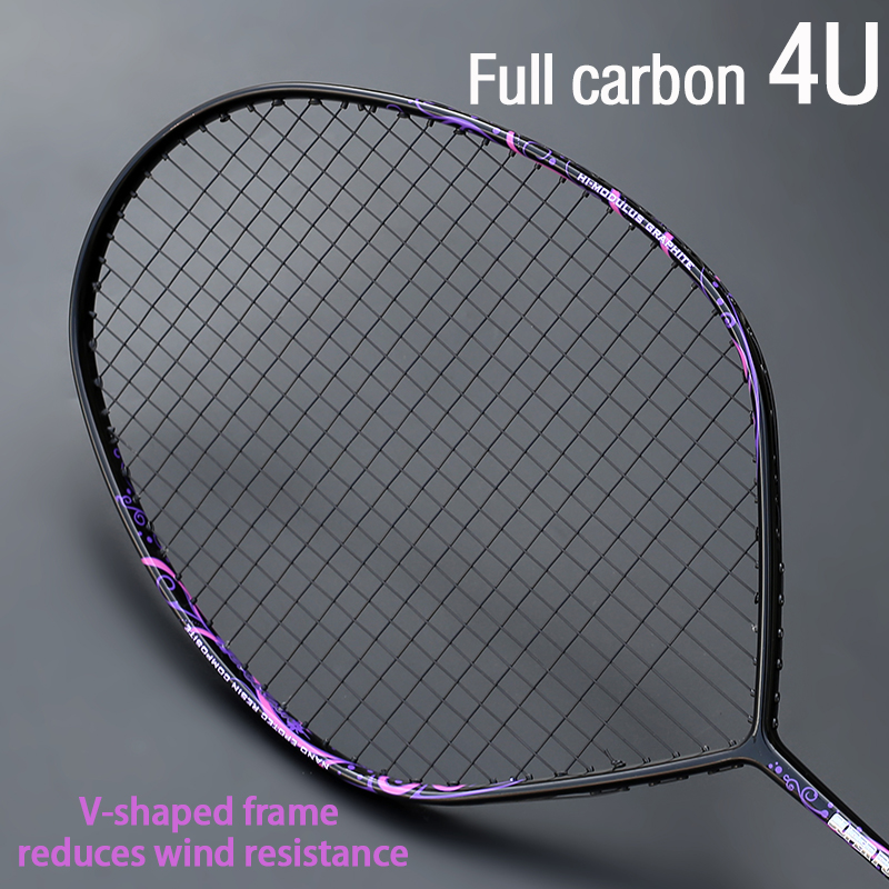 Professional Max 30 Pounds 4U V-Shape Badminton Racket Strung Full Carbon Fiber Racket Offensive Type Single Racquet With String