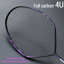 Profissional max 30 libras 4u v-forma raquete de badminton amarrada raquete de fibra de carbono completo tipo ofensivo única raquete com corda