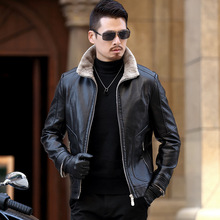 2019 new Haining fur one leather fur men's jacket sheep middle age autumn dad men's coat