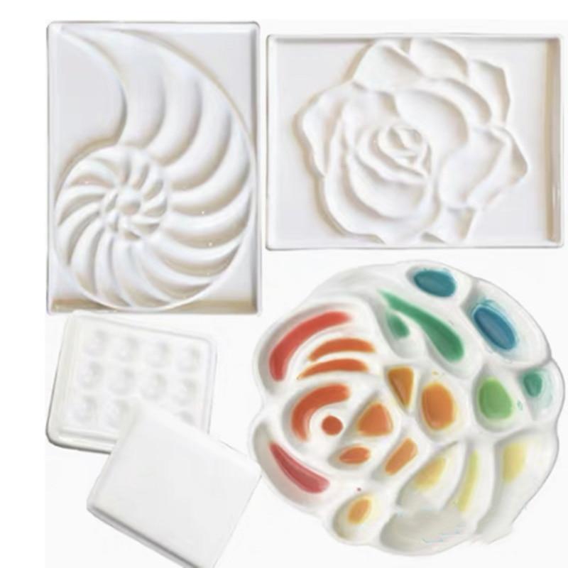 Ceramic Artist Watercolor Palette Rose-shaped Gouache Ceramic Palette Bone China Flower-shaped Paint Painting Supplies