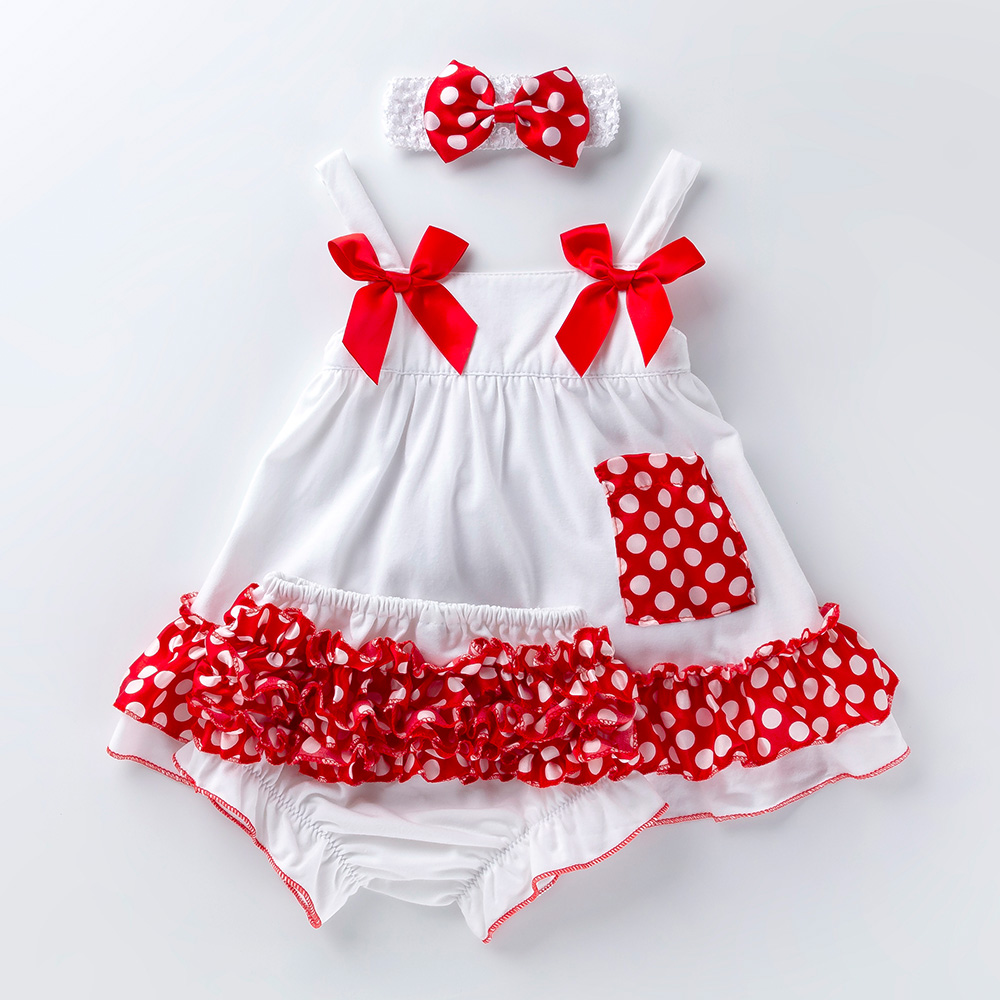 Fashion Baby Girls Swing Top Set Polka Dot Swing Ruffled Outfits With Matching Bloomer Headband Sets Girl Clothing Infant