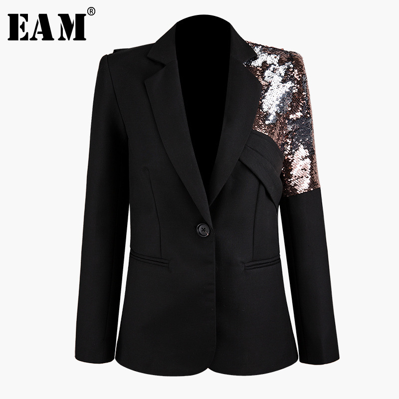 [EAM]  Women Black Sequins Split Joint Blazer New Lapel Long Sleeve Loose Fit  Jacket Fashion Tide Spring Autumn 2019 1K060