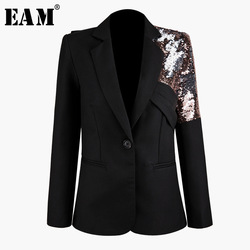 [EAM]  Women Black Sequins Split Joint Blazer New Lapel Long Sleeve Loose Fit  Jacket Fashion Tide Spring Autumn 2019 1K060