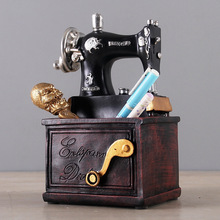 Vintage Resin Sewing Machine Pen Holder Ornaments Figurine Retro Crafts Old Furniture Sewing Machine Miniature Home Decor Gifts top resin swing old man old lady ornaments desktop crafts cartoon old parents figurine home decor accessories wedding gifts