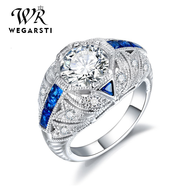 WEGARASTI Silver 925 Jewelry Ring Sapphire Trendy Party Round Classic 925 Sterling Silver Rings Jewelry Woman Engagement Gift