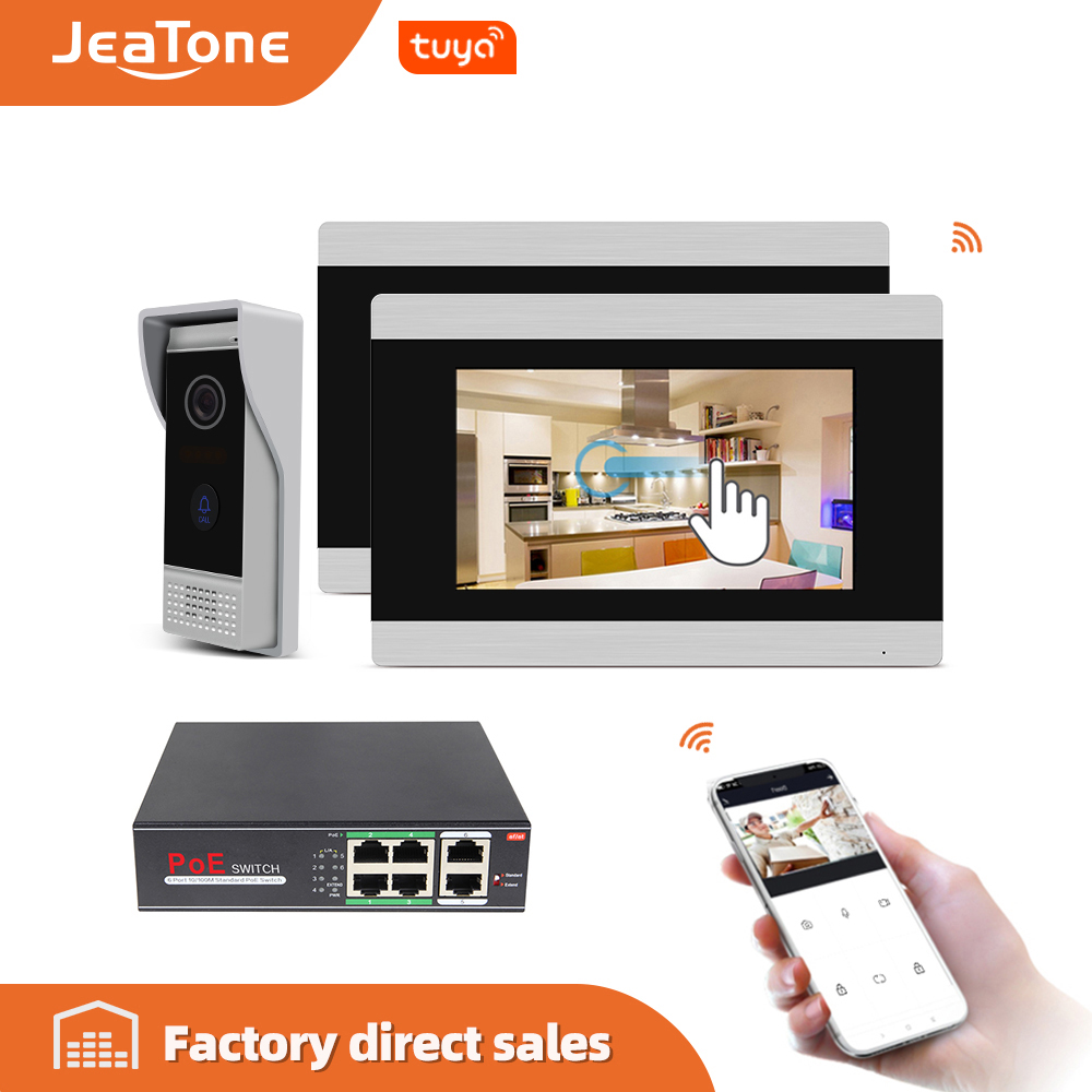 7'' Touch Screen Wireless IP POE Intercom Video Door Phone Intercom Doorbell Apartment Access Control System Motion Detection