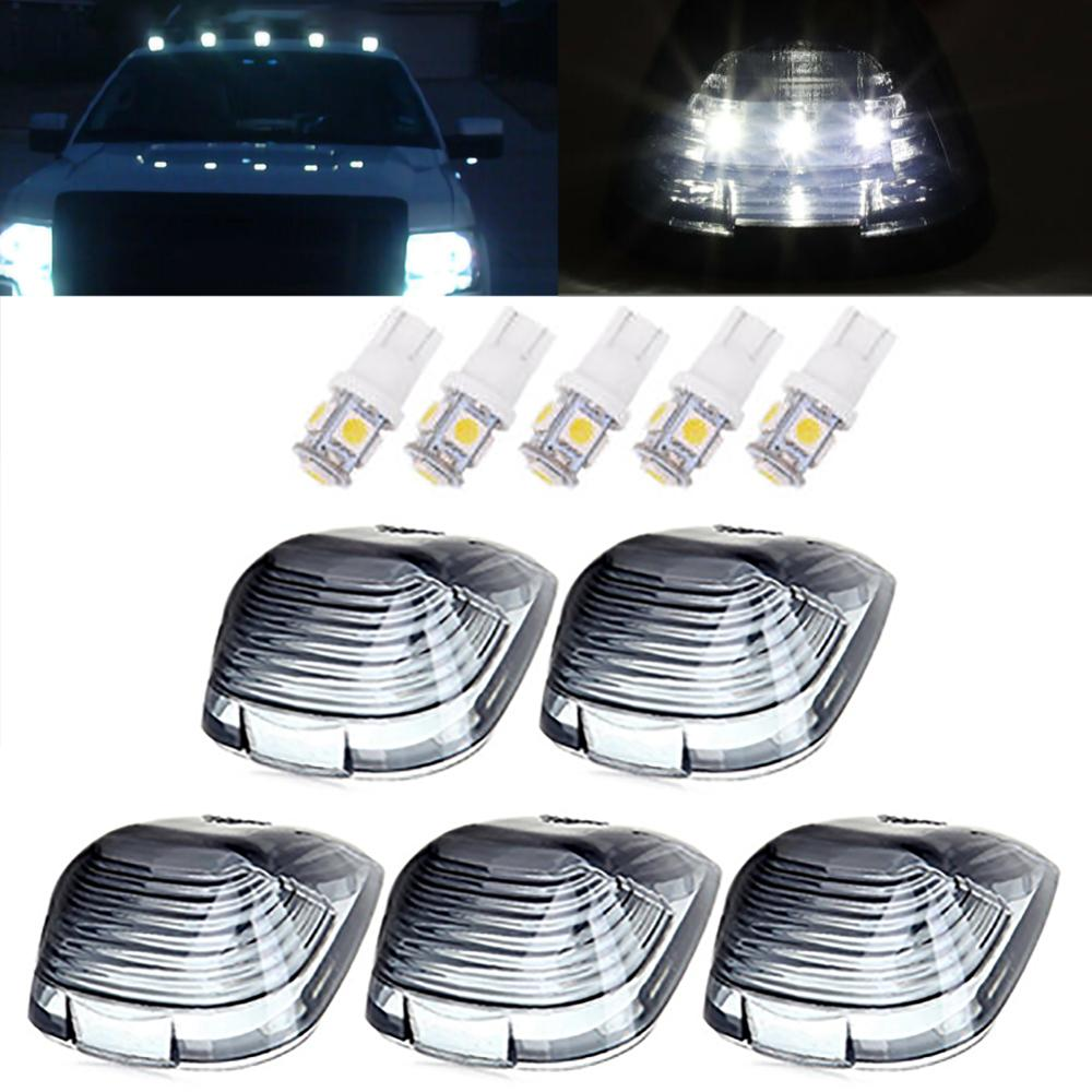 5PCS Smoke Roof Cab Marker Lights Covers Bulbs For Ford F150 F250 F350 F450 F550 5-5050-SMD LED Car Marker Light Accessories