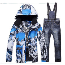 Outdoor Sports Men Ski Suit Male Waterproof Warm Man Snow Jacket And Pants Winter Skiing And Snowboarding Clothes Set cheap ARCTIC QUEEN Polyester Hooded Fits true to size take your normal size Jackets Windproof Ski Wear Windproof Waterproof Breathable Warm