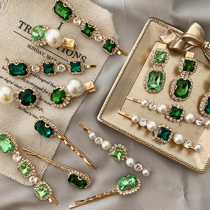 2020 New Vintage Green Rhinestone Hair Clip Imitation Pearl Barrettes Hairgrip Hair Accessories For Women Girls Party Wedding