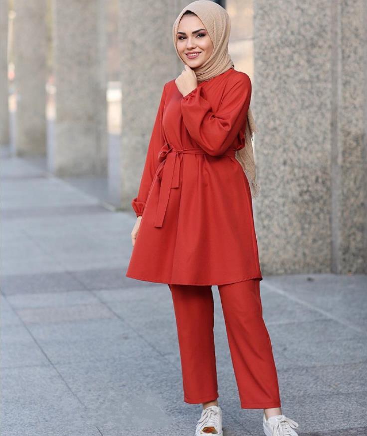 2 Pieces Dubai Muslim lace up tops and pants suits female kaftan Oman Turkish Hijab Muslim islamic dress ramadan ropa F1493