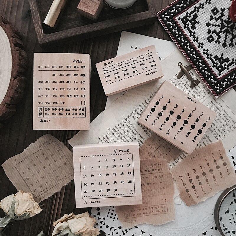 New Arrival 2019 Eclipse Vintage Moon Calendar Wooden Stamps For Scrapbooking Bullet Journal Rubber Standard Stamp