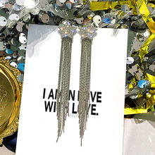 New Fashion Earrings For Women Dlicated Korean Style Dangling Golden Silver Color Tassel Wholesale Jewelry