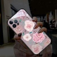 Funda ultradelgada de cristal 9H para iPhone, 7, 8, 7Plus, 8Plus, 9Plus, 11, 12 Pro, XR, X, XS, Max, 3D, rosa, Floral, para mujer