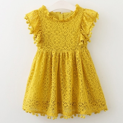 Humor Bear Girls Dress 2020 New Brands Baby Dresses Tassel Hollow Out Design Princess Dress Kids Clothes Children's Clothing 2