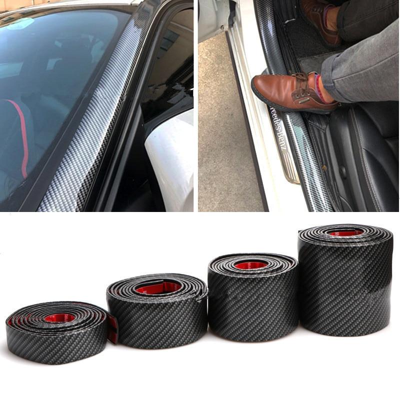 2.5m Carbon Fiber Look Rubber Bumper Strip Door Sill Protector Car Sticker
