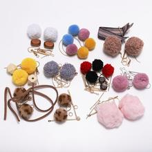 Candy Color Pompom Balls Long Drop Earrings DIY Jewelry package Soft Pom Pom Dangle Earring For Jewelry Making Findings Supplies
