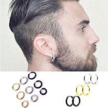Модные женские и мужские панк готические простые круглые серьги-гвоздики из нержавеющей стали для влюбленных, 3 цвета, 3 размера, ювелирные изделия
