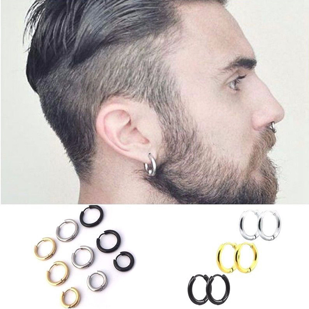 Fashion Women <font><b>Men</b></font> Punk Gothic Stainless Steel Simple Round Stud <font><b>Earrings</b></font> Lover 3 Colors 3 Size <font><b>Earring</b></font> Jewelry image