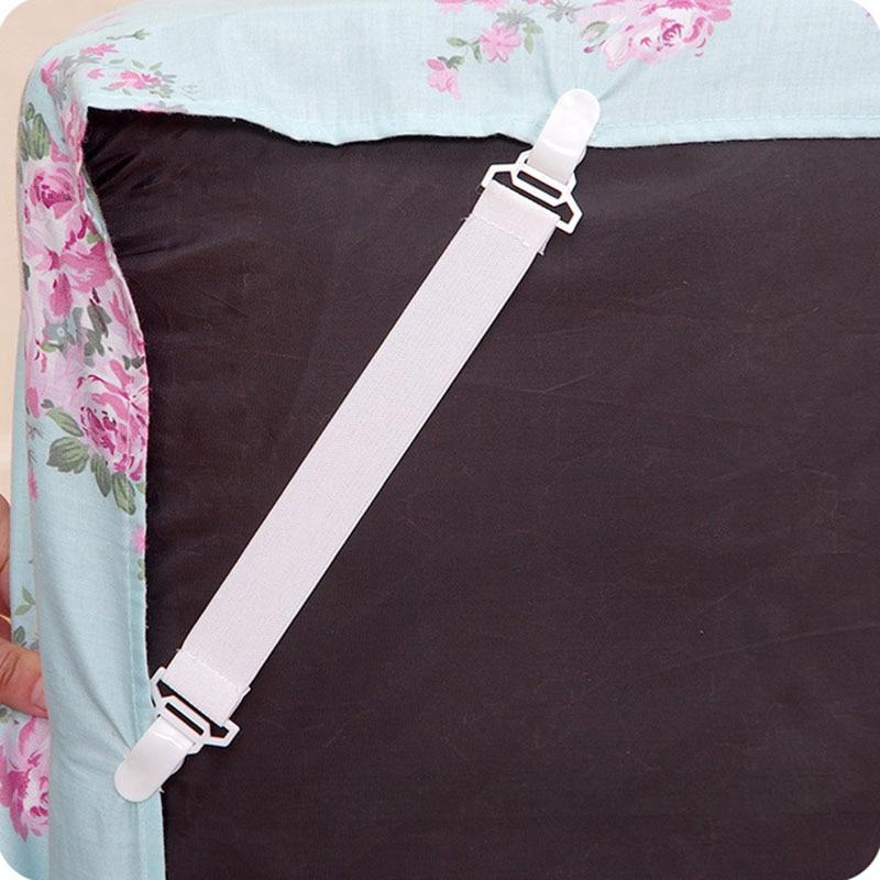 4Pcs Bed Sheet Clip Portable Sofa Cover Clip Non-slip Adjustable Elastic Hook Loop Mattress Cover Holder Furniture Accessories