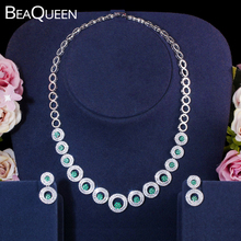 BeaQueen Stylish Zirconia CZ Crystal Green Flower Round Choker Necklace and Earrings Wedding Bridal Jewelry Sets for Women JS253 bravekiss luxury zirconia crystal flower necklace for women kolye wedding bridal charms choker necklace collares jewelry bun0027